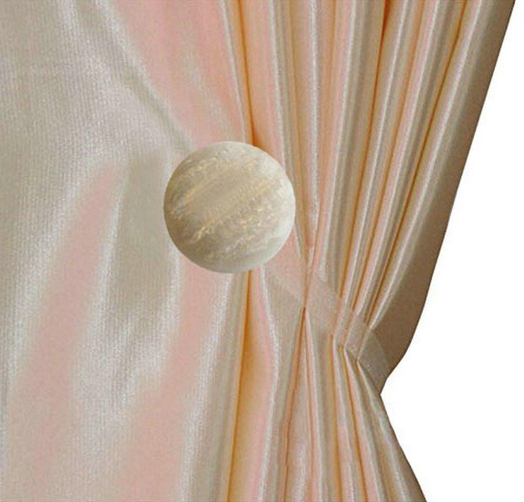 Ayygift 1 Pair New Design Gem Magnetic Tiebacks Curtain Buckle / Europe Creative Fashion Curtain Buckle (Opal B White)