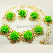 18K Gold Plated Pretty Green Rose Flower Jewelry Sets Elegant Women Gold Jewelry Set