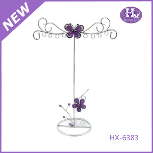 HX-6383 Silver butterfly sharp metal jewellery bust display stands