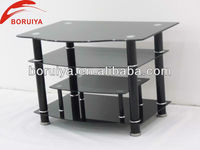 2016 hot sale glass top with aluminum pipe tv stands home furniture