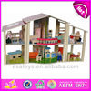2015 New and popular kids wooden toy doll set,Western Style Wooden toy doll house With Furnitures Accessories WJ278717
