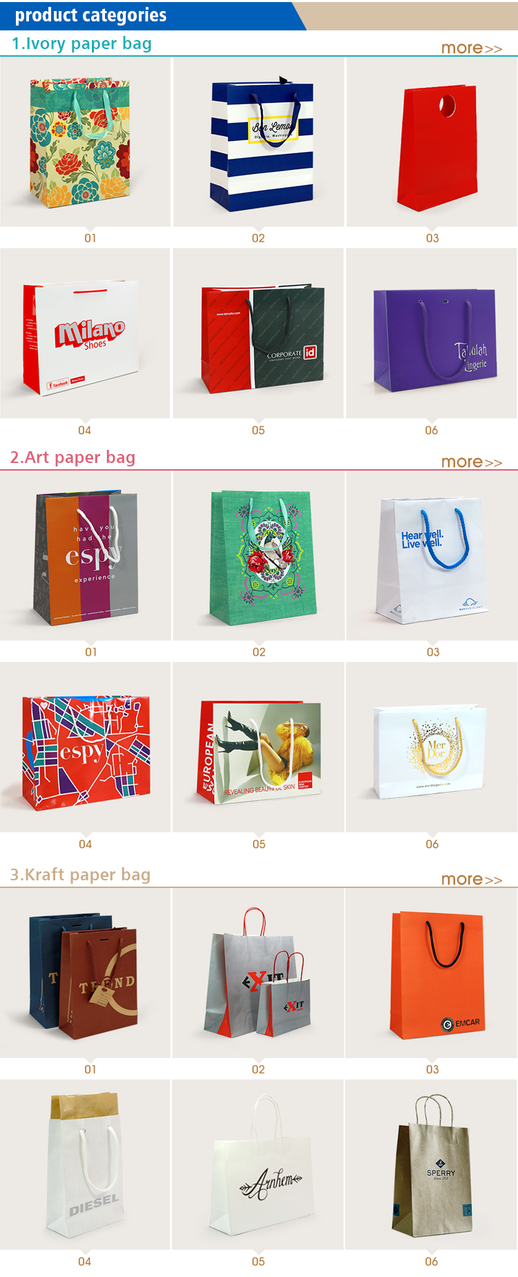 IPB-14 die cut handle paper shopping bag