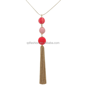 Silk thread ball light weight gold necklace designs fancy long chain necklace for girls