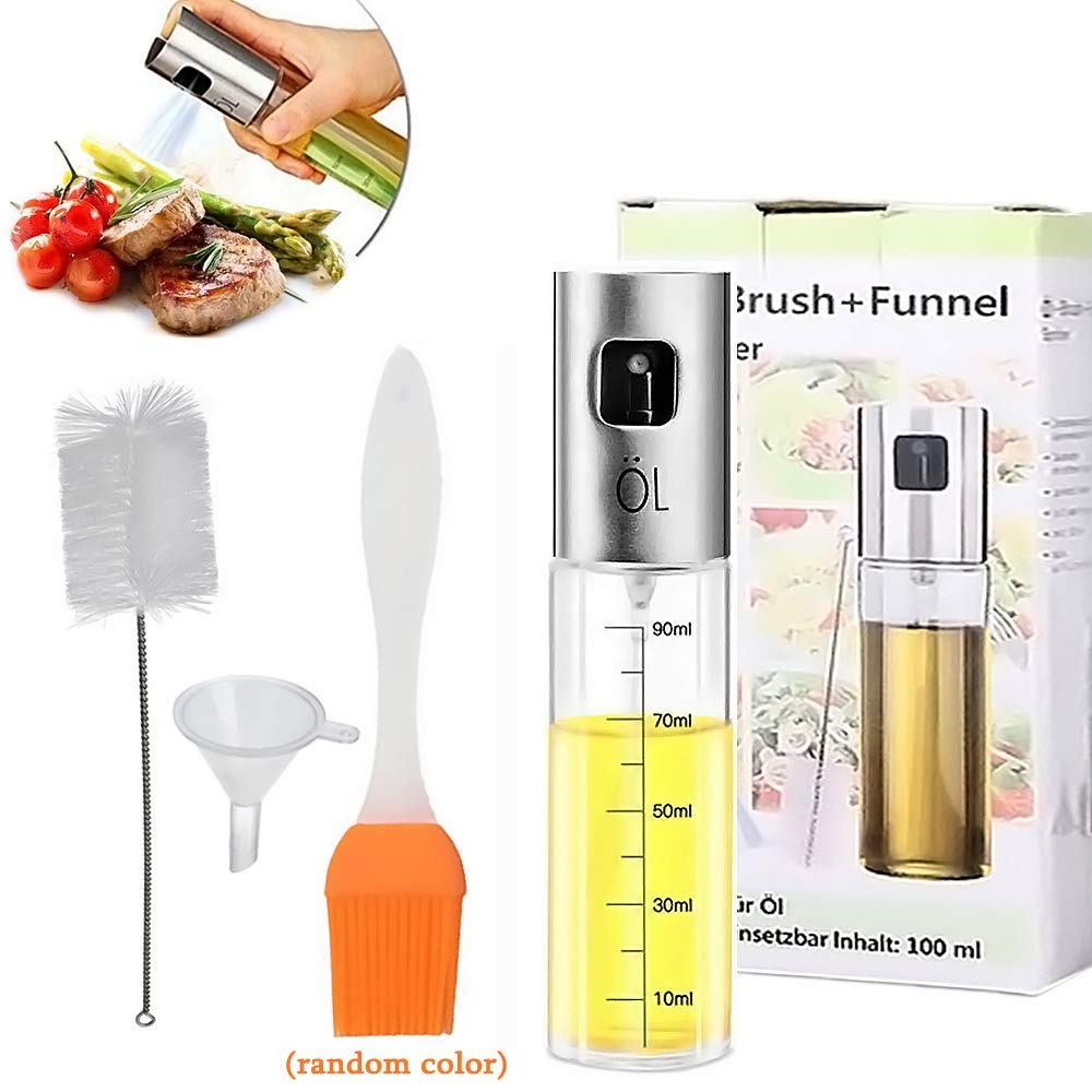 Olive Oil Sprayer for Cooking with 90ML Scale, Food-grade Glass Oil Spray Bottle Oil Mister Vinegar Bottle Oil Dispenser with Cleaning Brush/Silicone Brush/Funnel for BBQ, Cooking, Frying, Salad