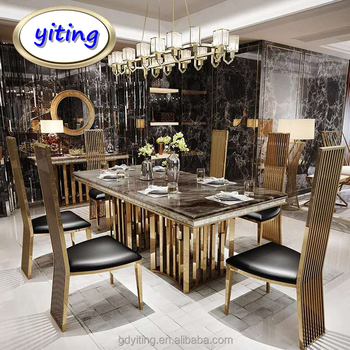 Nilkamal Cheap Price Unique Metal Marble Dining Desk Table Furniture With Bases From Pakistan