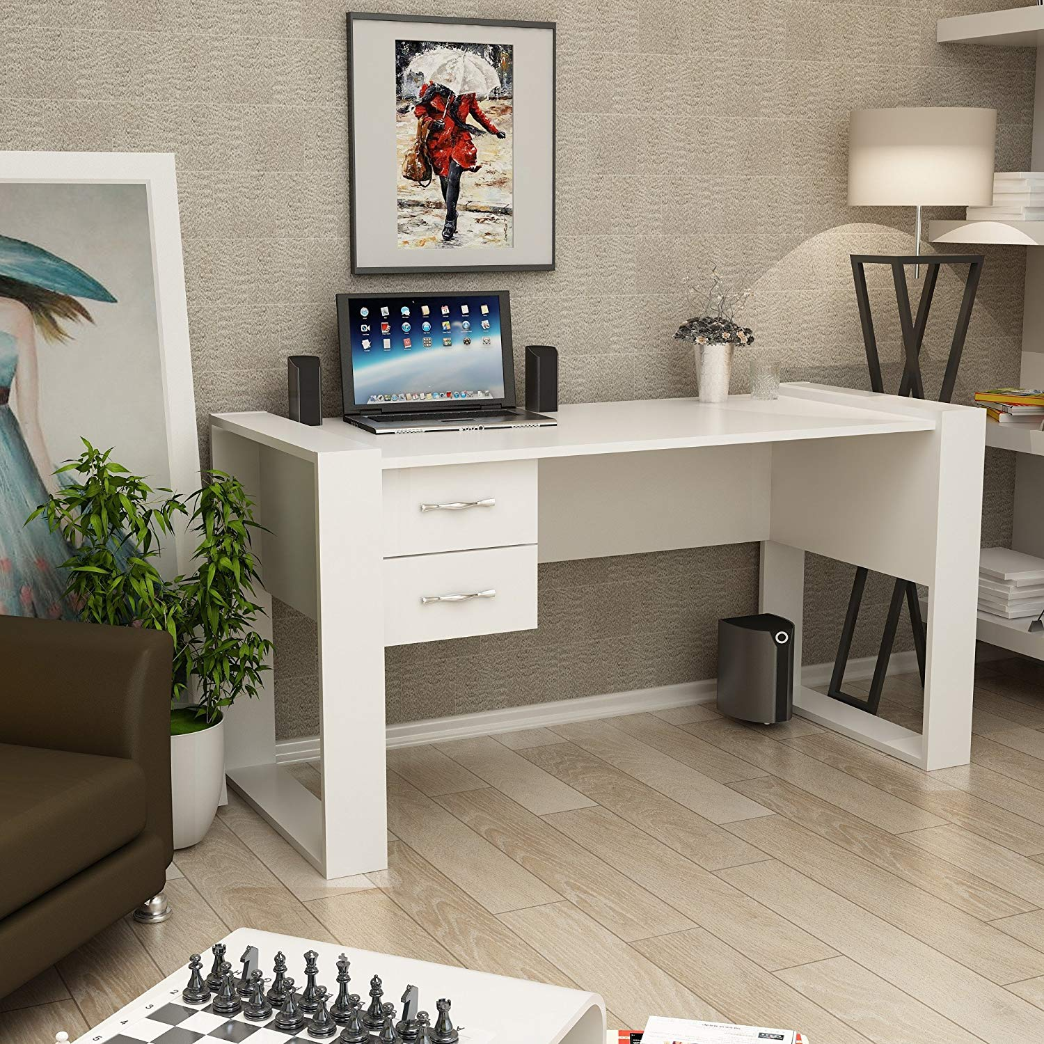 Writing Computer Desk Modern & Simple White One Color Simple Decorative Functional Classic Study Desk Industrial Style Study & Laptop Table for Home, Office, Living Room, Study Room