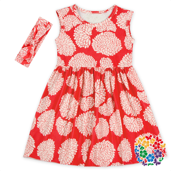 New Style Baby Girls Boutique Summer Sleevless Daily Casual Dress Red Flower Apparel Dress