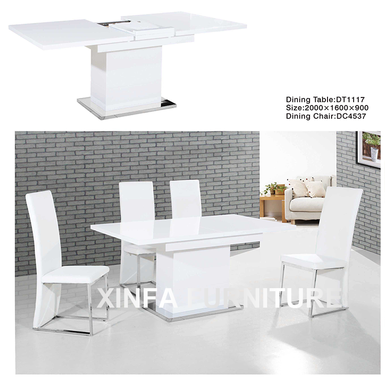 High Gloss Extendable White Mdf Wood Dining Table Sets