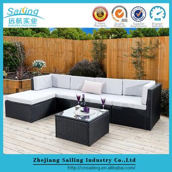 rattan modular corner sofa set l shape 6piece assembled outdoor garden furniture