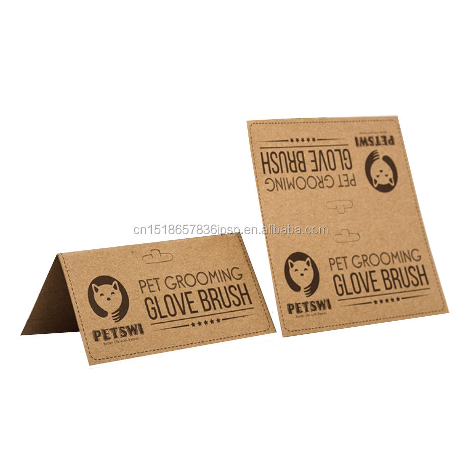 custom printing folding hanging kraft paper header card for gloves