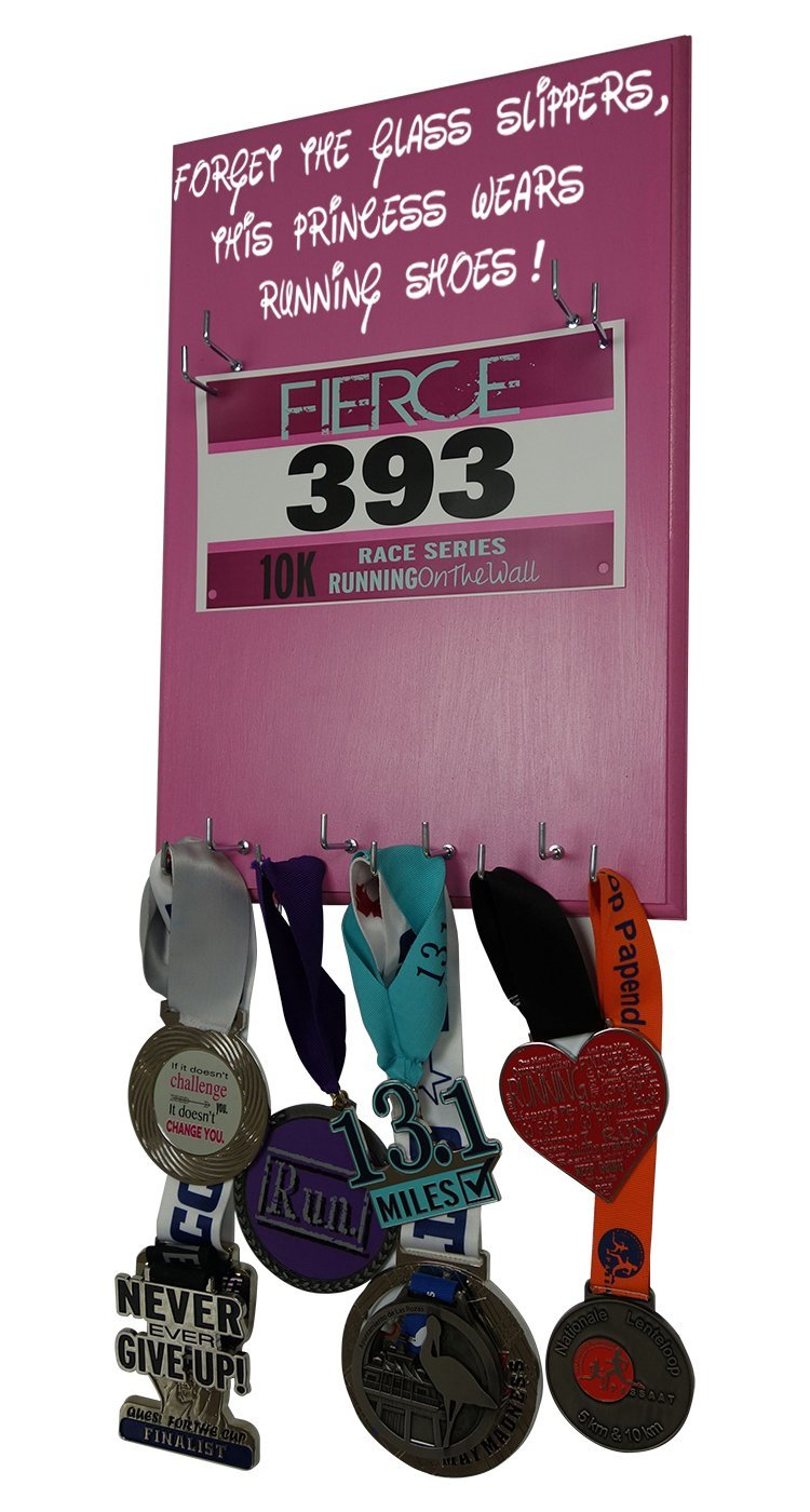 RunningontheWall - Running medal hanger Disney, Disney medal display, Medal holders for runners, Medal hangers for runners, Disney medal rack, Disney race medal hanger FORGET THE GLASS SLIPPERS...