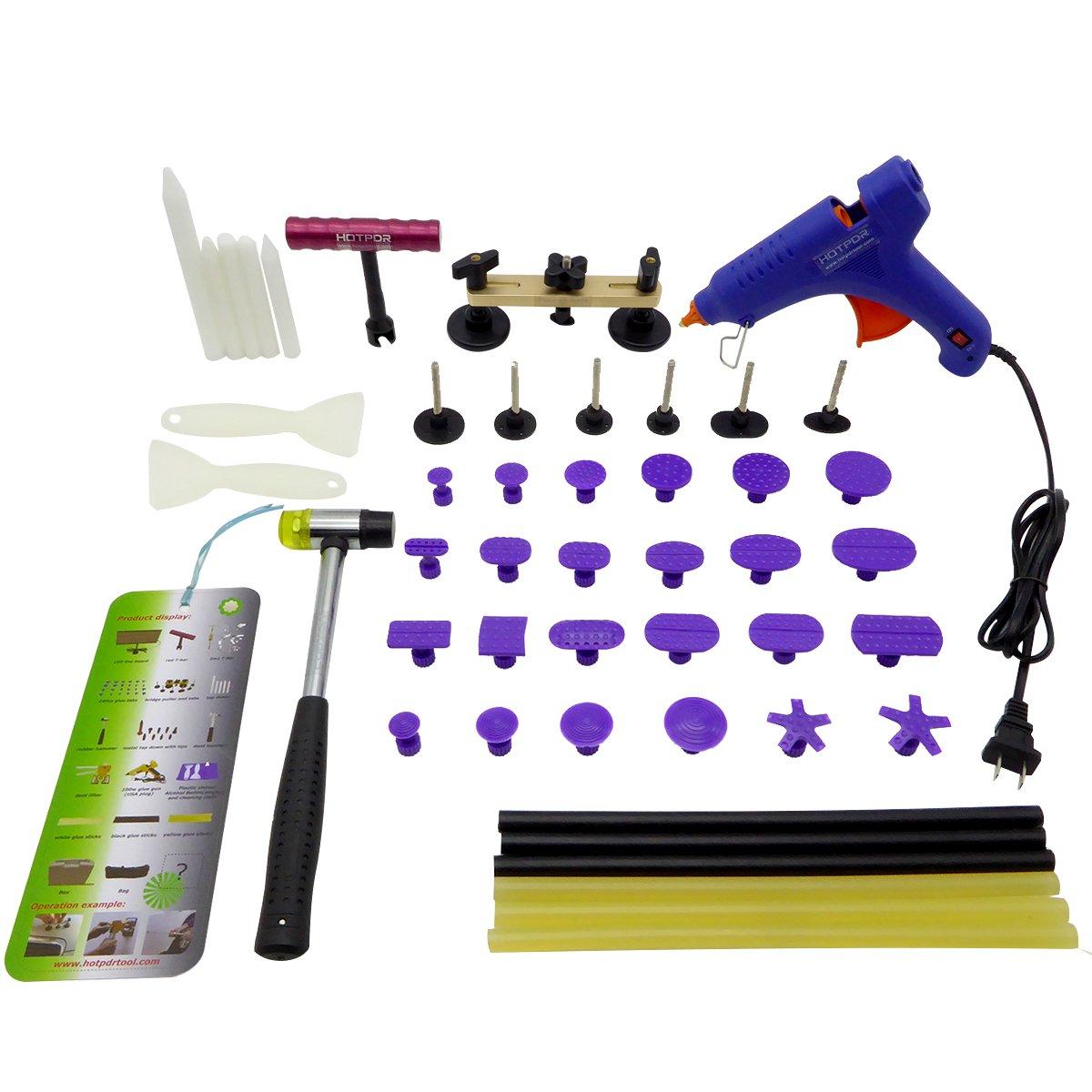 PIDINGER 19PCS Paintless Dent Removal Tools Aluminum Auto Body Dent Repair Puller and Nylon Tab Set