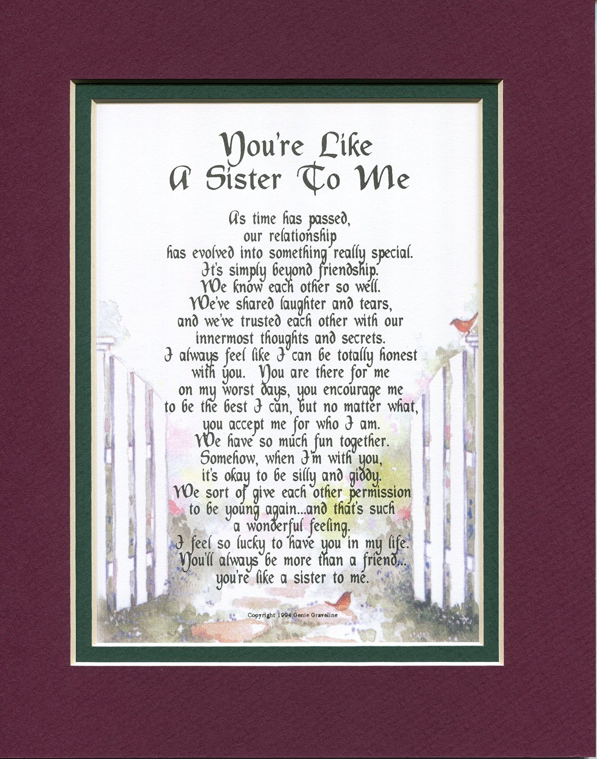 Youre Like A Sister To Me 150 Gift Present Poem