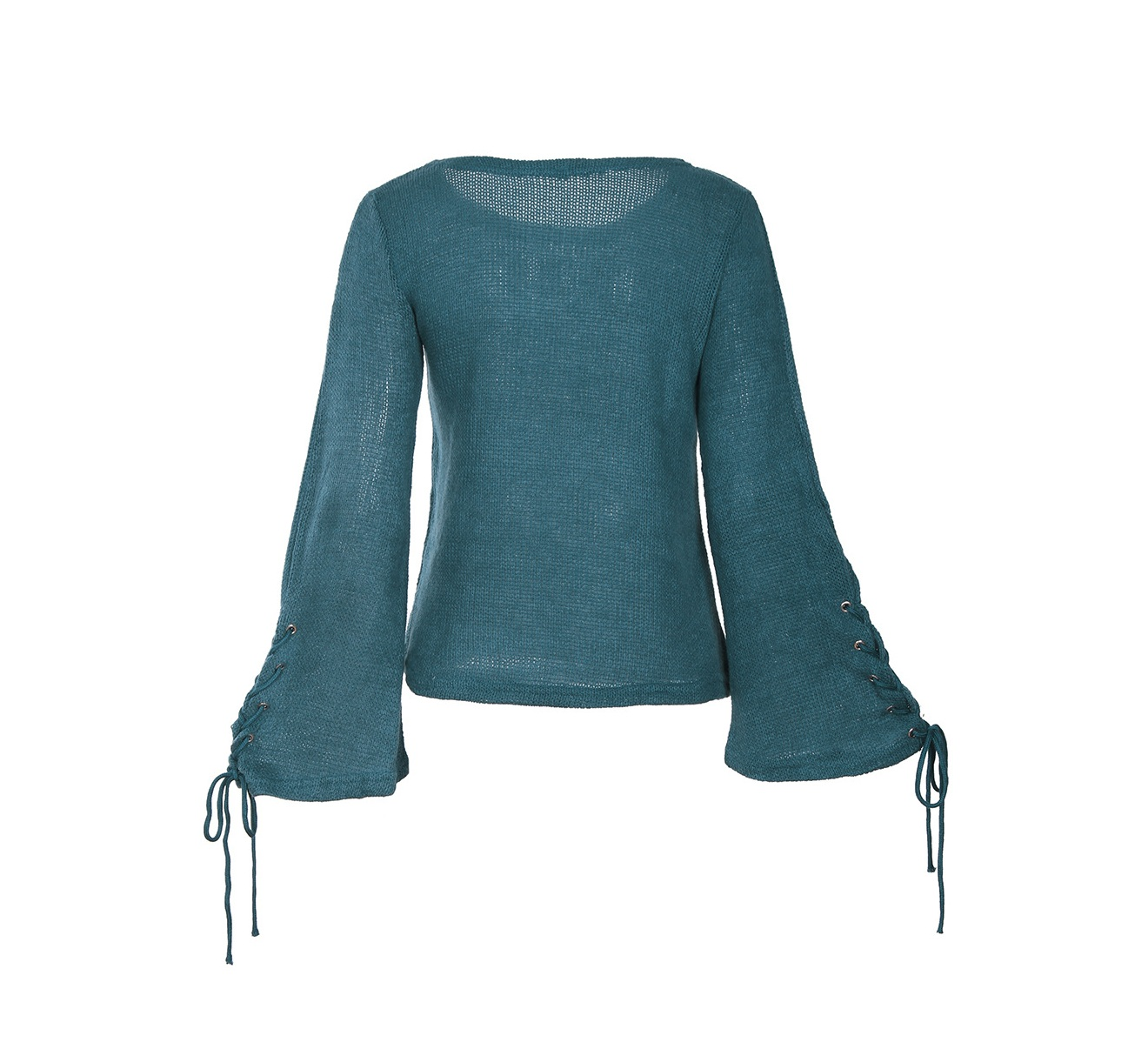 Fall Woman Loose Autumn Clothes Blue Sweater Strap Sleeve Sweater