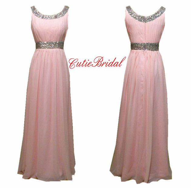 c7a63fcc8e3 Get Quotations · 2016 New Real Image Pink Evening Dress Round Neck Long  Pink Prom Evneing Gown