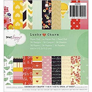 American Crafts Cute 6x6 inch Patterned Paper Pad for Crafting with 36 Dear Lizzy Lucky Charm Designs by Ideal for Cardmaking
