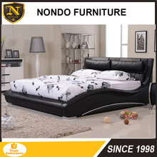 King size comfortable soft black faux leather bed LB05