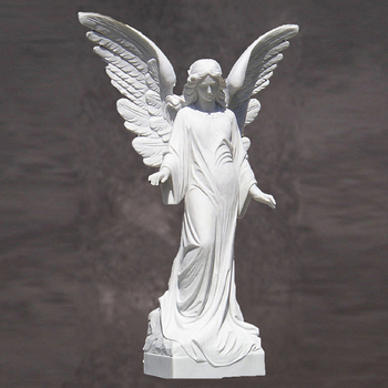 Life Size Fiberglass White Angel Statue For Garden Decoration