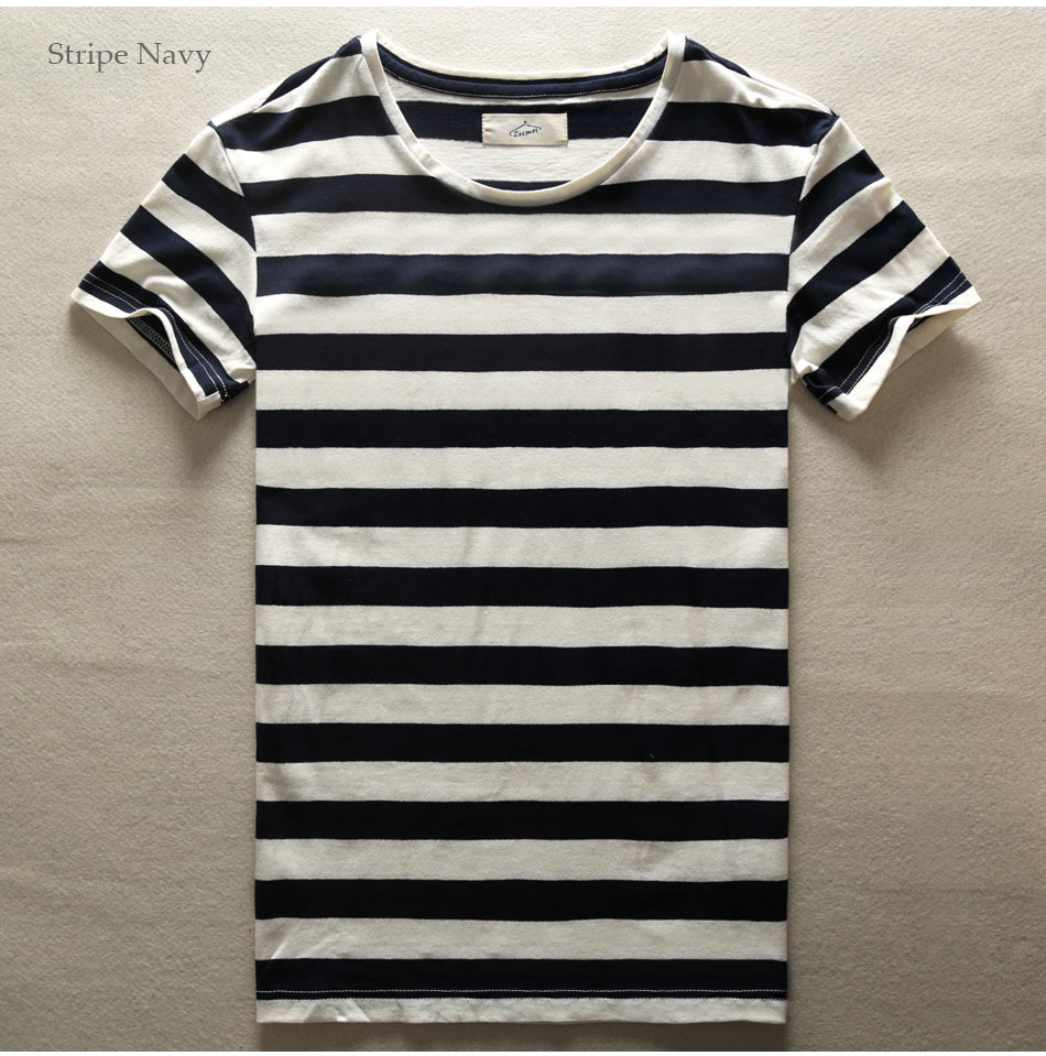 dbd0826f0a Zecmos New Men Stripe T Shirt Fashion O Neck Short Sleeved Slim Fit ...