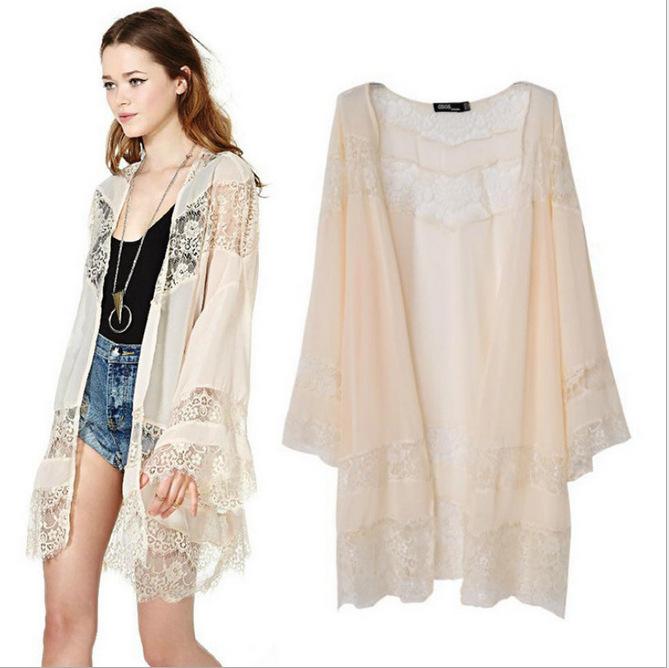 Buy Women's Vintage Boho Kimono Cardigan Lace With Fring FLS12 ...