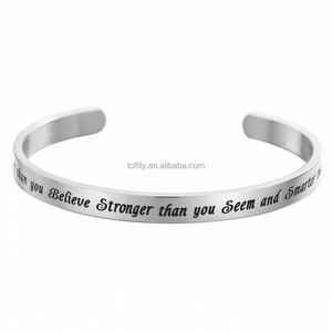 Fashion Women Stainless Steel Cuff Gemston Charm Engrave inspirational Chain Bangle Bracelet
