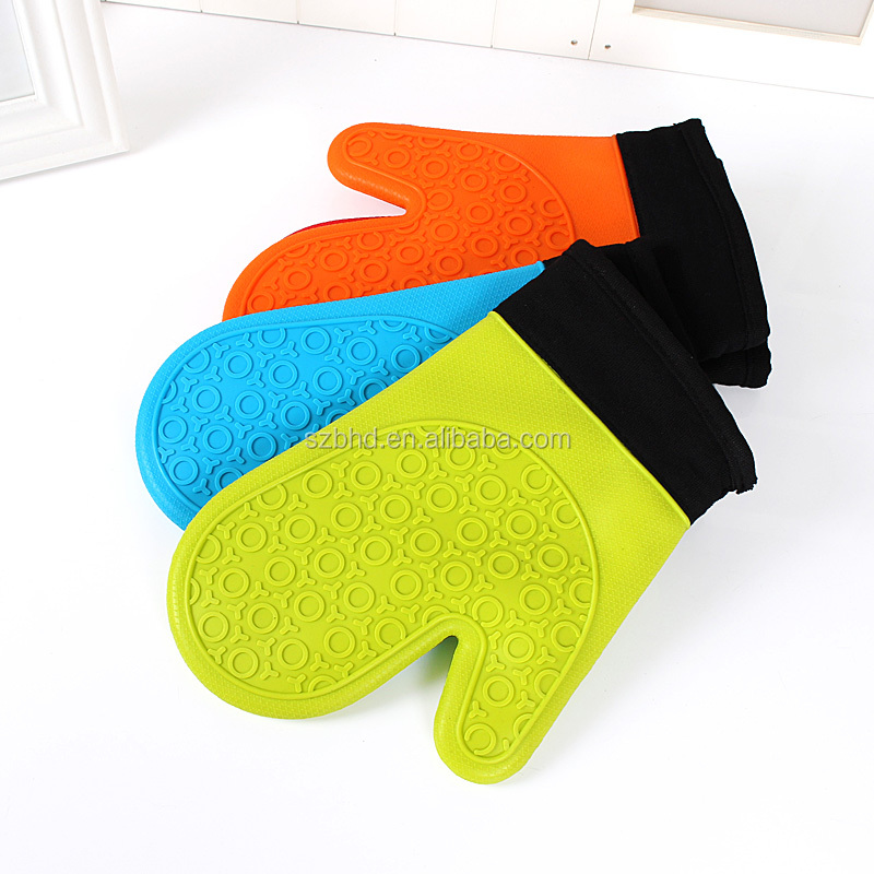 Nonslip Heat Resistant Cotton Oven Mitt,Silicone Oven Mitt with Cotton Lining