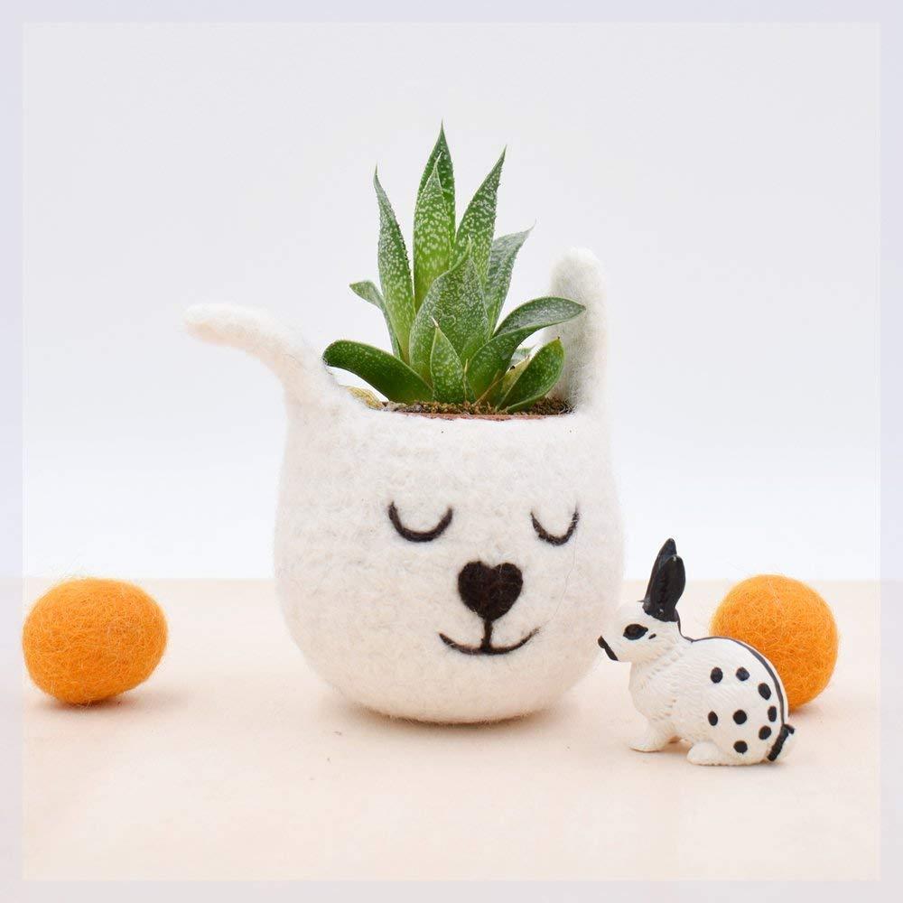 Succulent planter/spring bunny/White Rabbit planter/Felt planter/indoor planter/Small succulent pot/Easter gift/mother gift