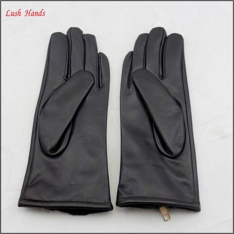 2016 hotsale sheepskin genuine leather hand gloves black with zipper women