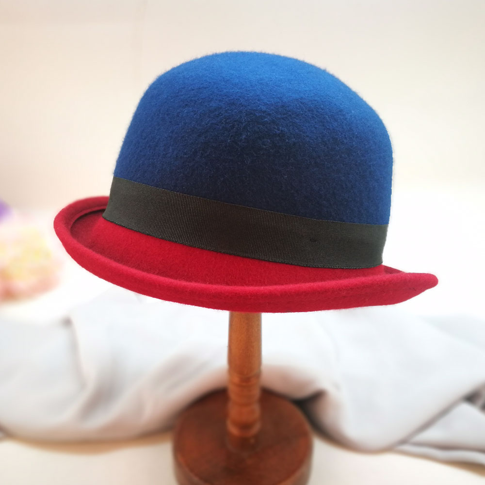 7d78c92b6d8aa Promoción barato mejor-Venta de sombreros de lana hecho a mano azul sombrero  de fieltro