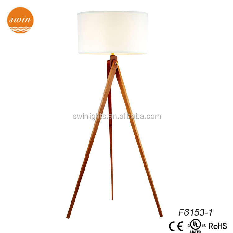 moder wood tripod floor lamp with UL/CE F6153-1