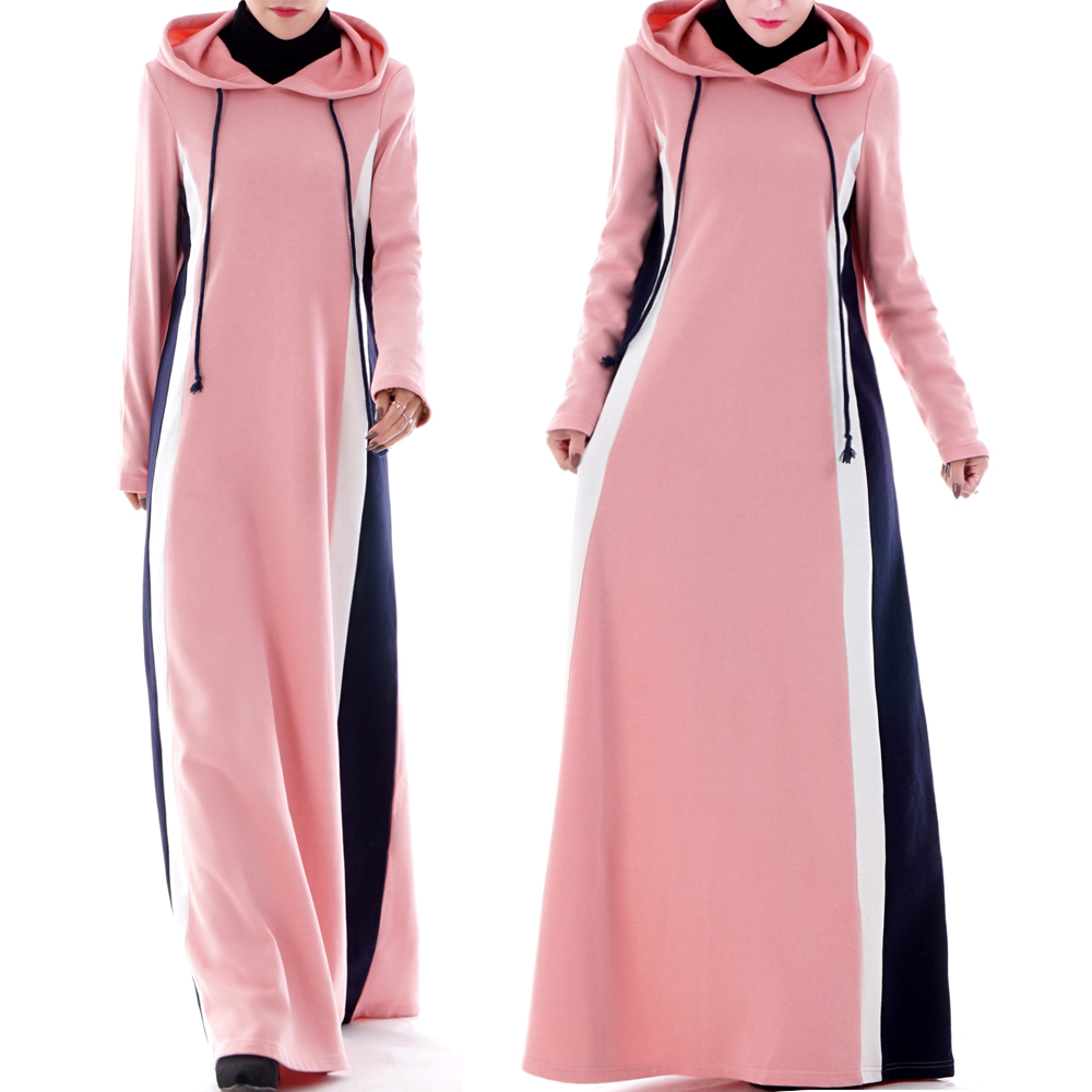 2019 New Design Gym Hoodie Contrast Islamic Sport Abaya Soft Knit wear for girls Casual Striped Maxi Dress Thick