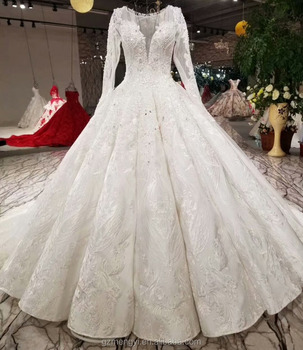 ffa2a3b3f6 Sexy Deep V Neck Long Sleeve Backless Jacquard Pleated Puffy Skirt Beaded  Wedding Dress Bridal Gown