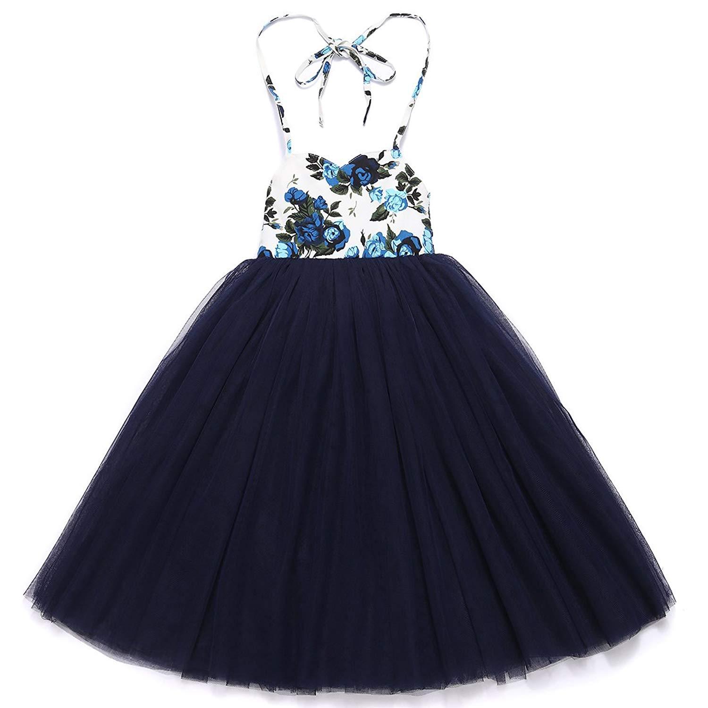 b266512ea Buy Flofallzique Girls Dress Blue Baby Sundress Vintage Floral Boho ...