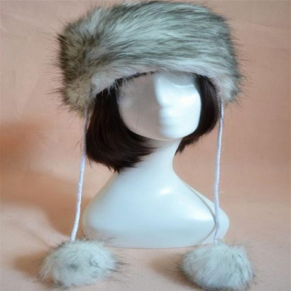 Get Quotations · Banggood 1X Faux Fox Fur Russian Cossack Style Woobies  Snow Winter Fur Coat Hats Snowster 788ceab8367