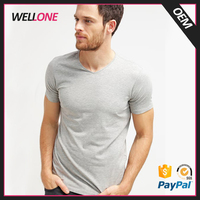 Wellone 100% cotton dry fit sport running breathable v neck blank custom pattern grey men football t shirt