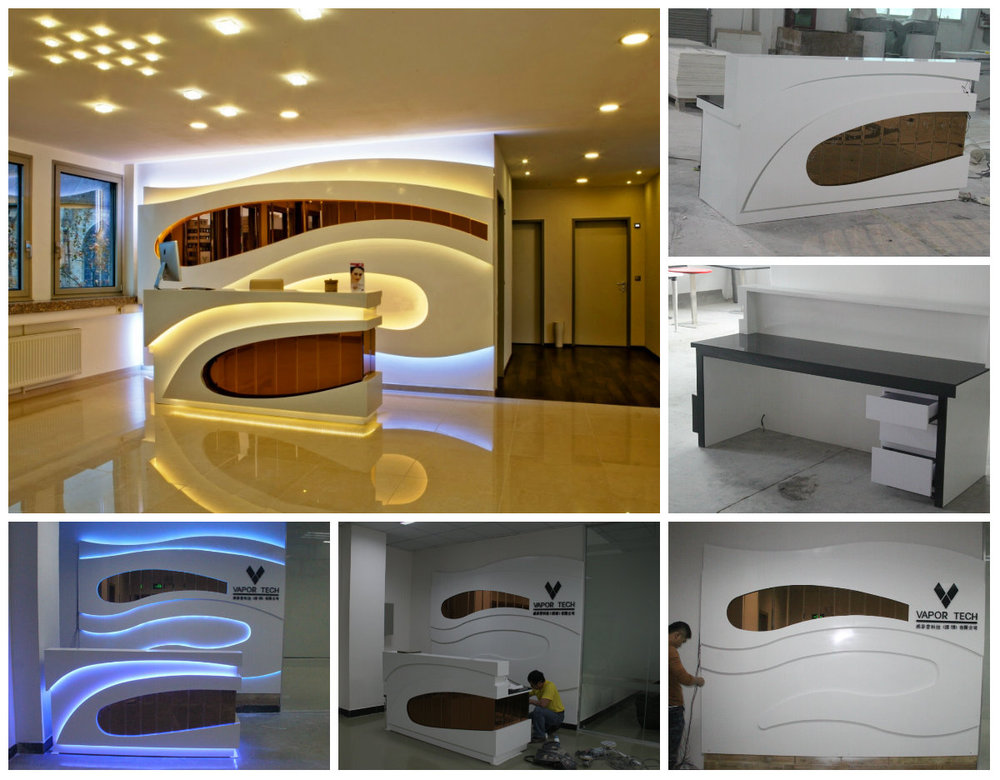 unusual design attractive artificial stone modern office small corner reception desk attractive modern office desk design