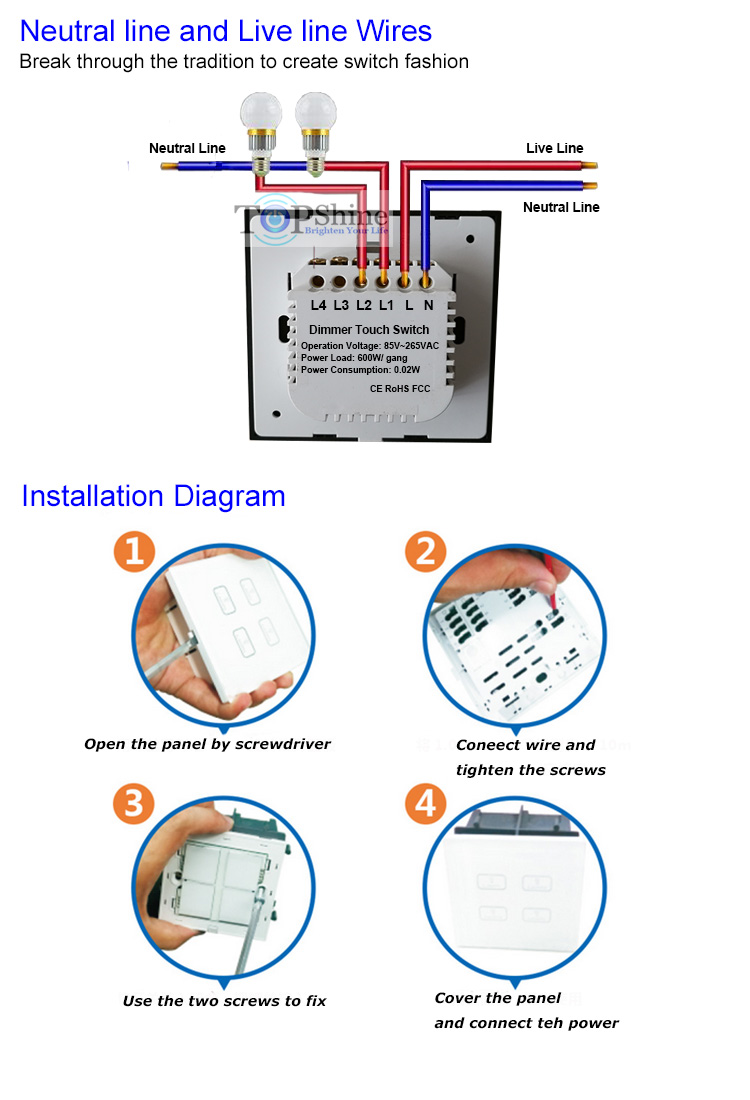 Light Switch Wiring L1 L2 L3 Topshine Uk Style Golden Crystal Glass Touch Panel 3 Gang Dimmer Structure And Technical Parameter Of Neutral Line Live Wires