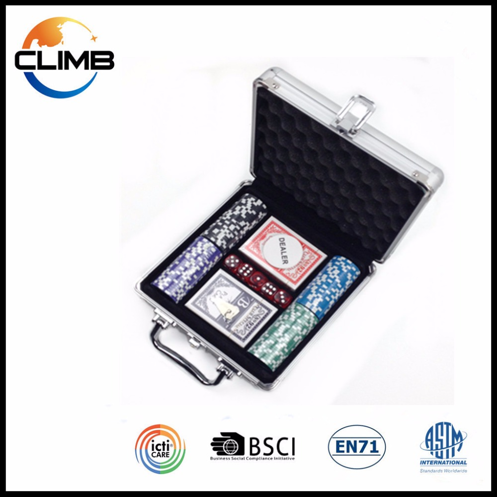 Good Quality Playing Cards Poker Chip Set 100PCS Aluminum Case