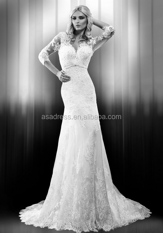 Plus size simple sexy long sleeve wedding gowns french lace plus size simple sexy long sleeve wedding gowns french lace mermaid dress wedding white wedding dresses junglespirit Image collections