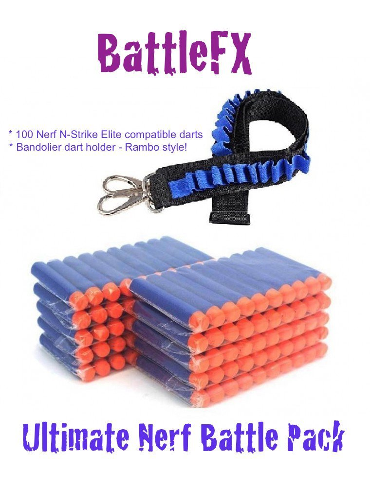 BattleFX Ultimate Nerf Battle Pack - 100 Nerf Compatible Darts with Bandolier