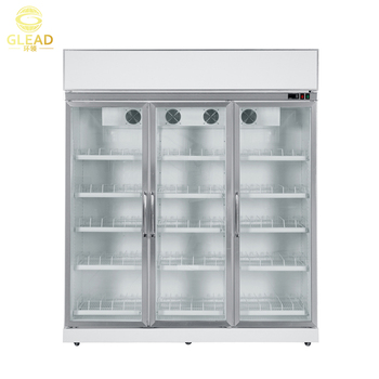 Stainless Steel 3 Glass Door Commercial Used Cold Drink Refrigerator  Supermarket Showcase