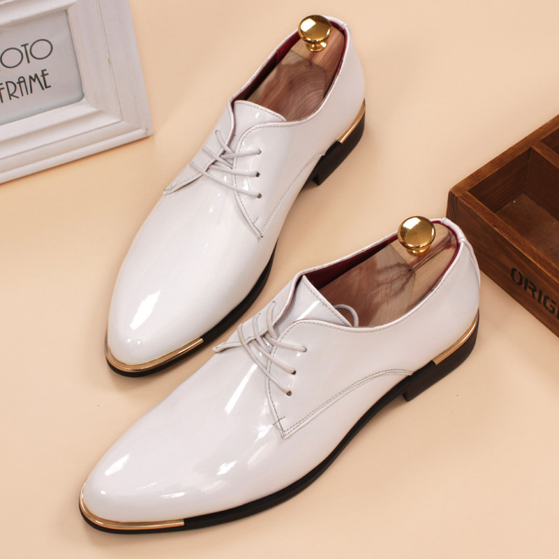 glossy dress shoes white flat wedding shoes patent leather