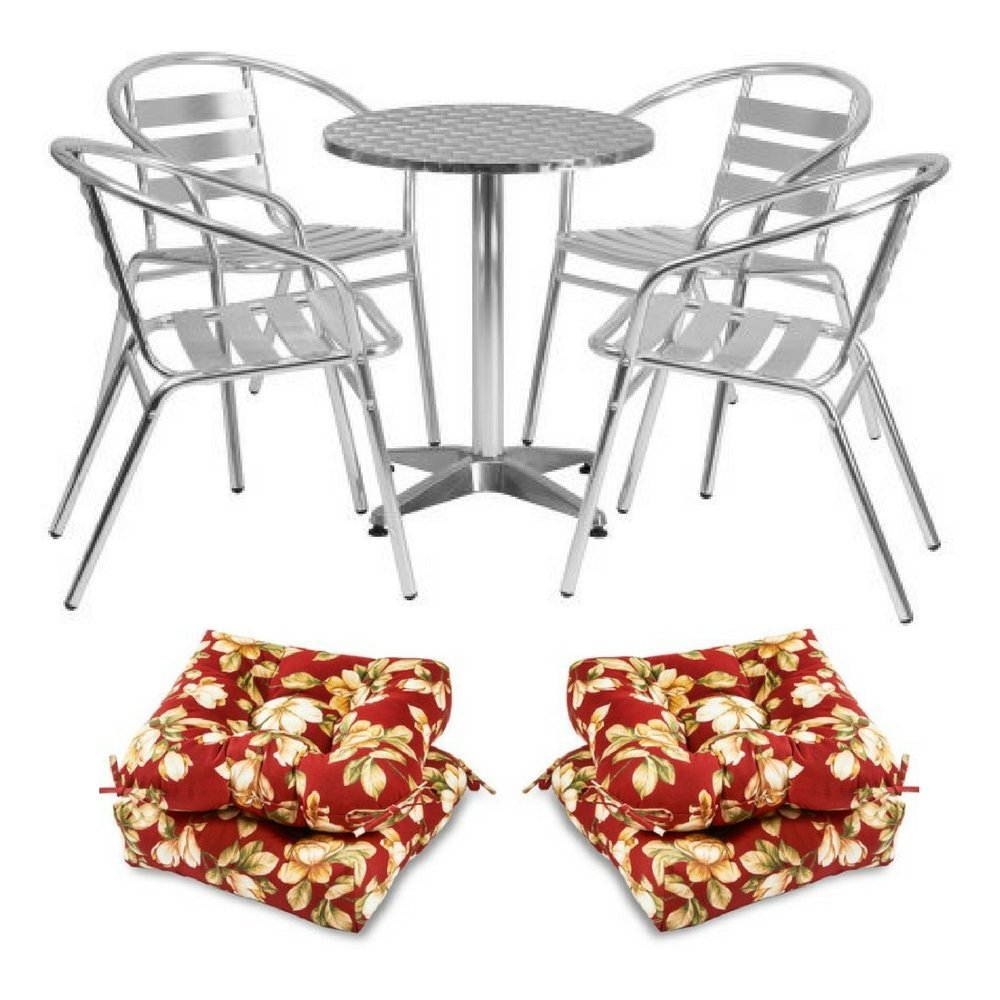 """23.5"""" Round Aluminum Table With 4-Piece Slat Back Arm Chairs & Set of 2 20-Inch Chair Cushions in Roma Floral, Flash Furniture, Greendale, All Weather, Outdoor, UV-Resistant, Lightweight, Modern"""