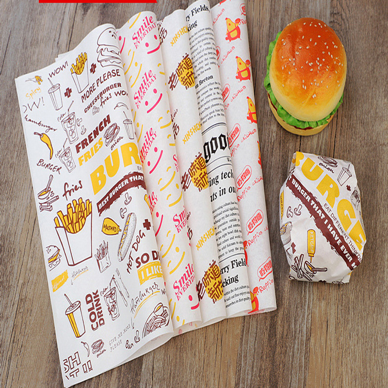 Wholesale Customized Printed Logo and Size Food Safe Grade burger paper Greaseproof Deli Meat Wrapping Wax Coated Paper