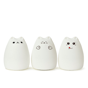 Cheapest Battery Bedroom Soft Cute Night Light Silicone For Children Sleep light LED Lamp Carton Cat Shape
