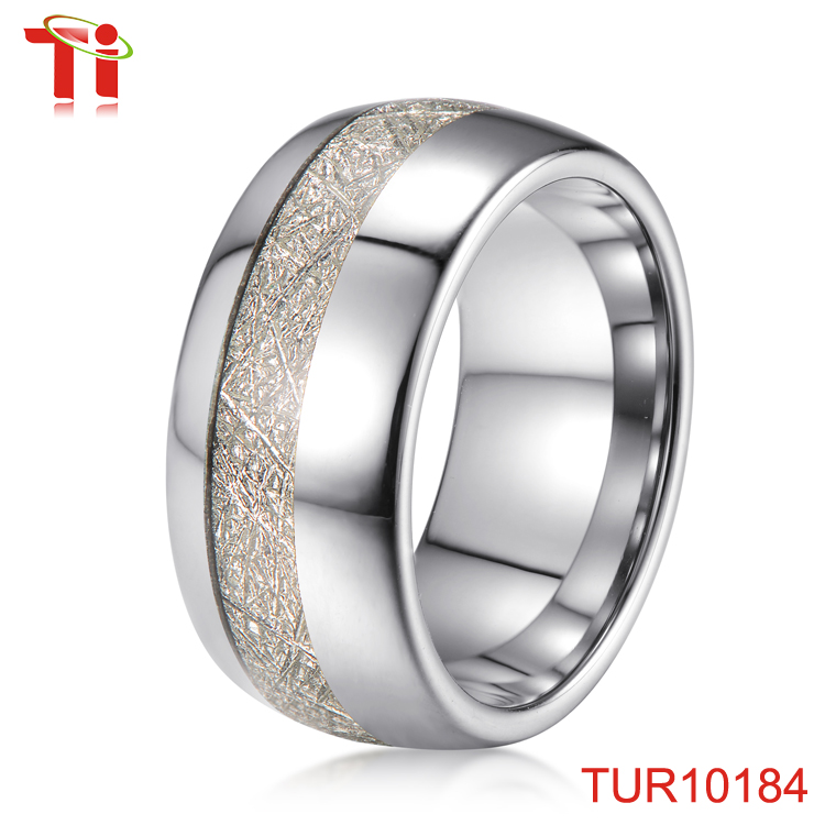 Wholesale Costume Jewelry Tungsten Silver Rings Meteorites Inlay For
