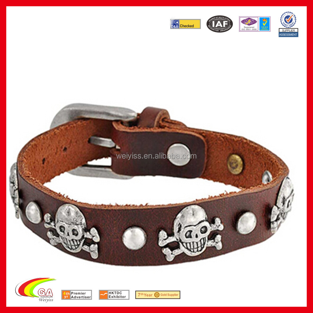 Genuine Leather Buckle up Bracelet, Cheap Decoration Leahter Bracelet with Metal
