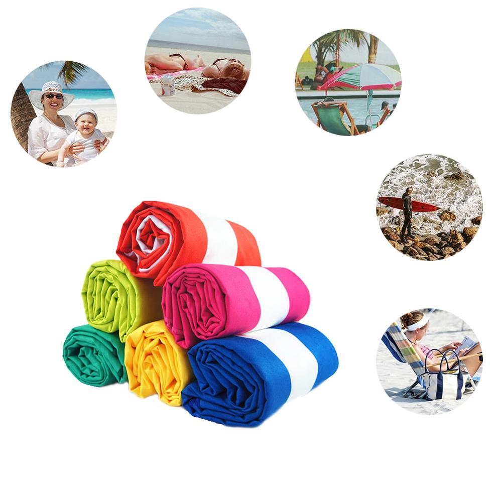 China Suppliers Colourful  80% Polyester 20% Polyamide Stripe Microfiber Suede Beach Towel
