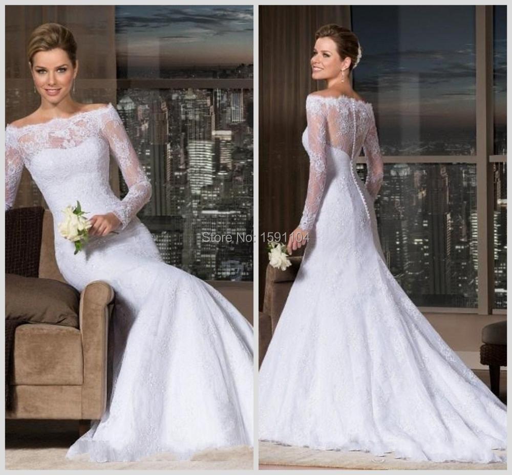 2015 New Elegant Full Long Sleeves Mermaid Wedding Dresses: 2015-Elegant-Off-the-Shoulder-Sheer-Neck-and-Long-Sleeve