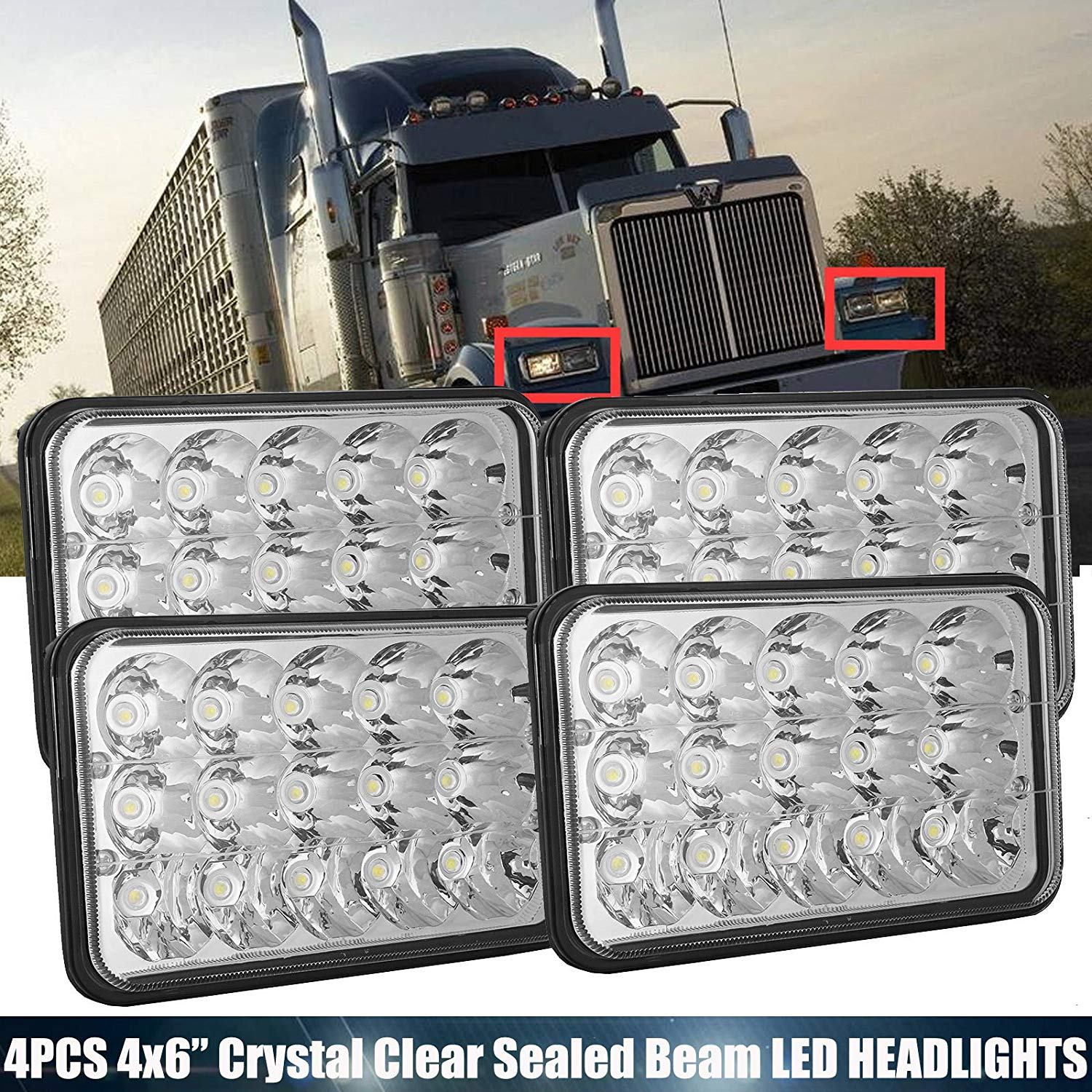 4PCS 4X6 Rectangular LED Headlights Clear Sealed Beam Upgrade Lights for International Harvester 9300 Trucks, High/Low Bright 6000K White H4 Plug H4651 H4642 H4652 H4656 H4666 H4668 H6545 Replacement
